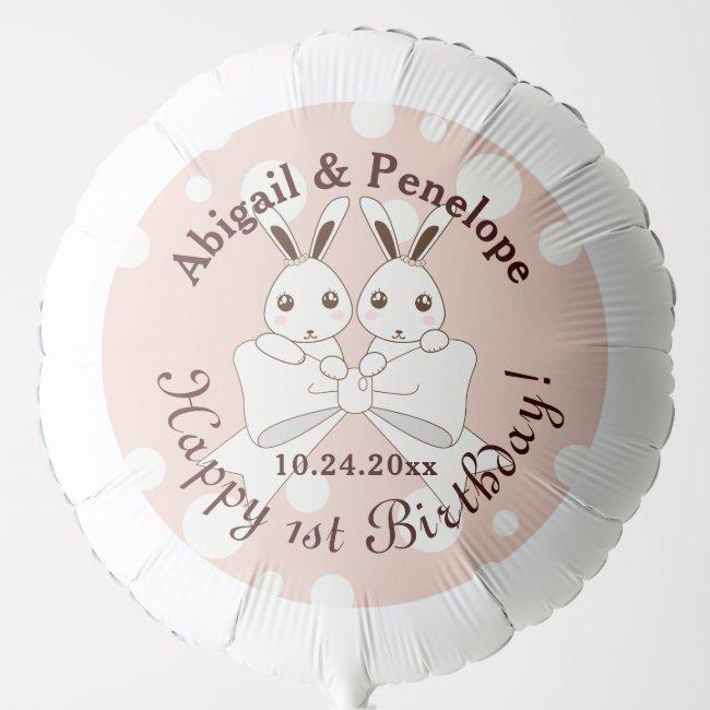 Cute Bunny Twins Pastel Pink Girl Birthday