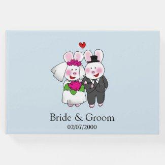 cute bunny wedding couple guest book