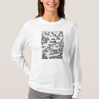 Cute bunny winter snow scene illustration t-shirt
