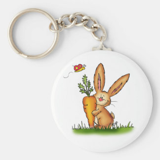 Cute Bunny with Carrot by Gerda Steiner/Send2smile Keychain