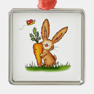 Cute Bunny with Carrot by Gerda Steiner/Send2smile Square Metal Christmas Ornament