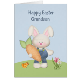 Cute Bunny with Carrot, Grandson, Easter Greeting Card
