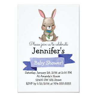 Cute Bunny with flowers Baby SHOWER Party Card