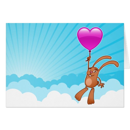 Cute bunny with heart balloon in sky greeting card