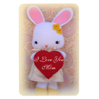 Cute Bunny with Heart Mother's Day Fridge Magnet