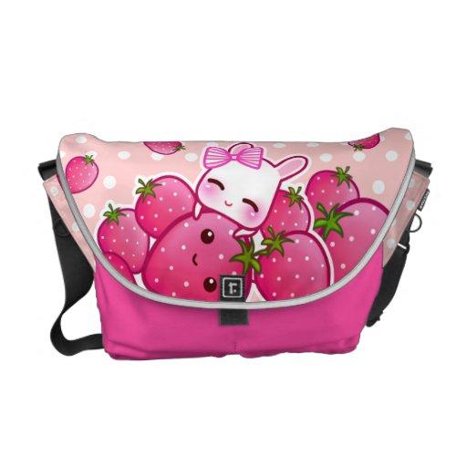 Cute bunny with kawaii strawberries messenger bags