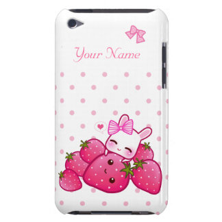 Cute bunny with kawaii strawberries personalized iPod Case-Mate case