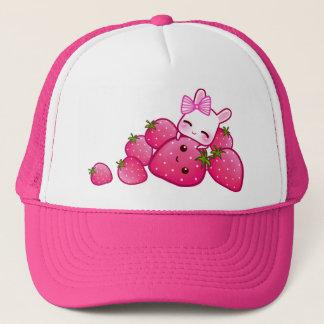 Cute bunny with kawaii strawberries trucker hat