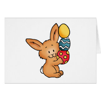 Cute Bunny with pile of eggs Card