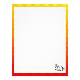 Cute Bunny; Yellow Orange Custom Letterhead