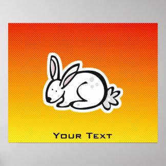Cute Bunny; Yellow Orange Posters