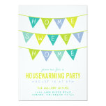 Cute Bunting and Stripes Housewarming Party Invitations