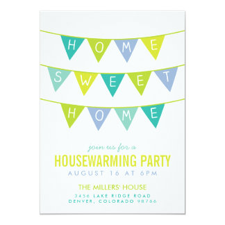 "Cute Bunting and Stripes Housewarming Party 5"" X 7"" Invitation Card"