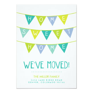 """Cute Bunting and Stripes Moving Announcement 5"""" X 7"""" Invitation Card"""