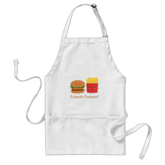 Cute Burger and Fries, Friends Forever Apron