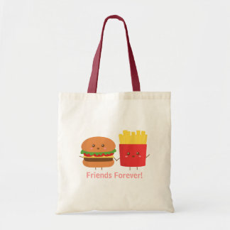 Cute Burger and Fries, Friends Forever Budget Tote Bag