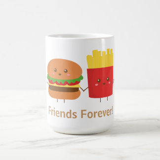 Cute Burger and Fries, Friends Forever Classic White Coffee Mug