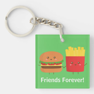Cute Burger and Fries, Friends Forever Keychain