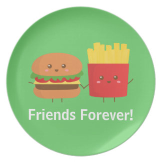 Cute Burger and Fries, Friends Forever Party Plate