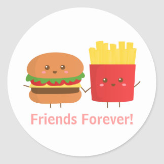 Cute Burger and Fries Friends Forever Round Sticker