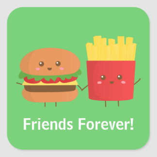 Cute Burger and Fries, Friends Forever Stickers