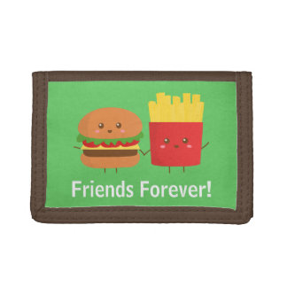 Cute Burger and Fries, Friends Forever Trifold Wallet