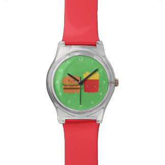 Cute Burger and Fries, Friends Forever Wristwatch