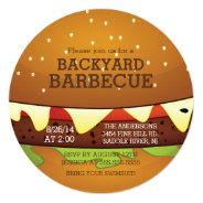 Cute Burger Summer BBQ Party Invitation at Zazzle