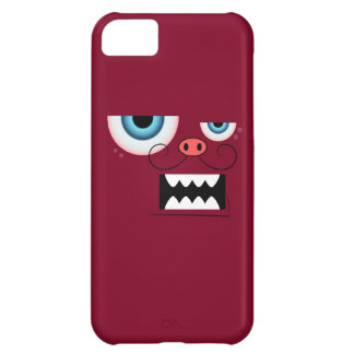 Cute Burgundy Red Mustache Monster Emoticon iPhone 5C Case