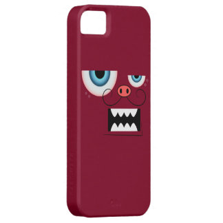 Cute Burgundy Red Mustache Monster Emoticon iPhone SE/5/5s Case