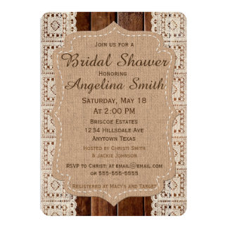 Cute Burlap and lace wedding shower invitation