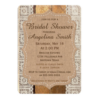 Cute Burlap and lace wedding shower invitation 4