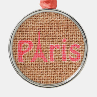 Cute burlap texture pink Paris Eiffel tower print Christmas Ornament