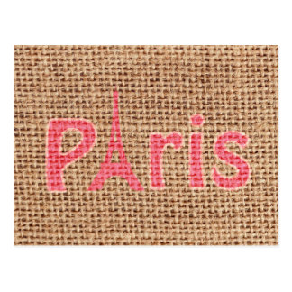 Cute burlap texture pink Paris Eiffel tower print Postcard