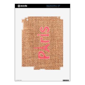 Cute burlap texture pink Paris Eiffel tower print Skins For The iPad 2