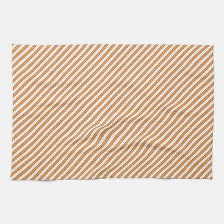 Cute Burnt Orange and White Diagonal Stripes Hand Towel