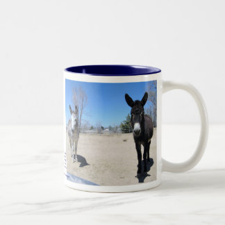 Cute Burros Friendship Two-Tone Coffee Mug
