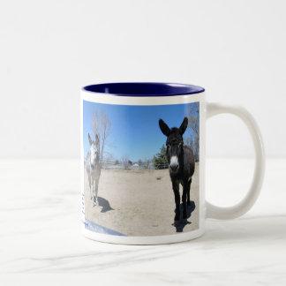Cute Burros Friendship Two-Tone Coffee Mug