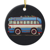 Cute Bus Tour Bus Ceramic Ornament