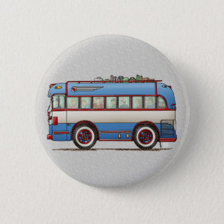 Cute Bus Tour Bus Pinback Button