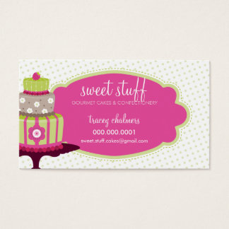 CUTE BUSINESS CARD sweet cakes bakery lime pink