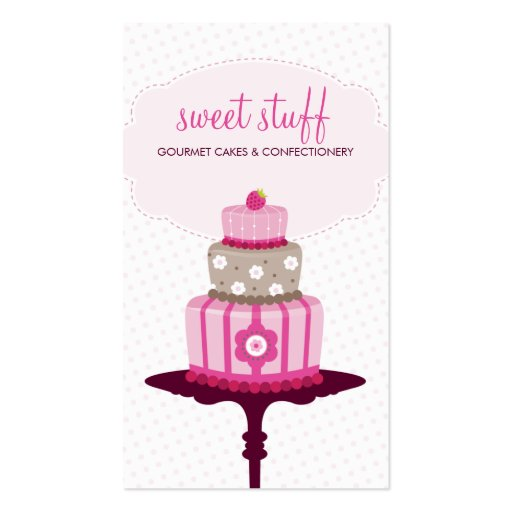 CUTE BUSINESS CARD :: sweet cakes bakery pink 3 (front side)