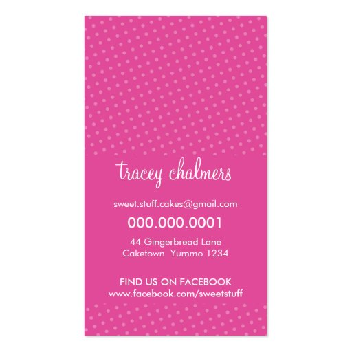 CUTE BUSINESS CARD :: sweet cakes bakery pink 3 (back side)