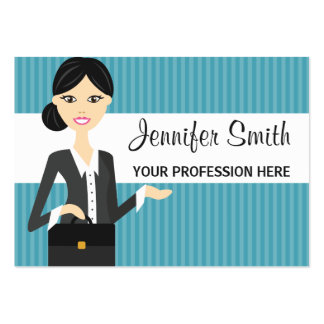 Cute Business Woman Illustration With Black Hair Large Business Card