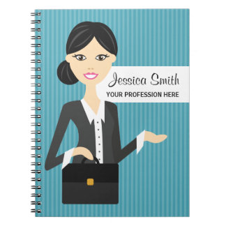 Cute Business Woman Illustration With Black Hair Notebook