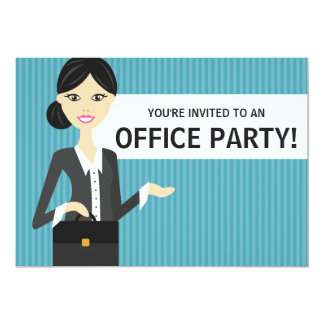 Cute Business Woman With Black Hair Office Party 5x7 Paper Invitation Card