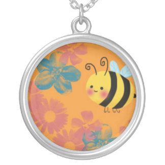 Cute Busy Honey Bee Silver Plated Necklace