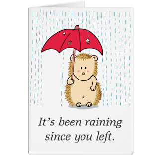 Cute but pitiful hedgehog drenched in the rain card