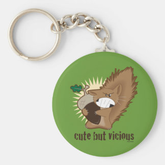 Cute But Vicious Basic Round Button Keychain