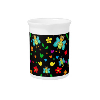Cute butterflies and flowers pattern - black pitcher